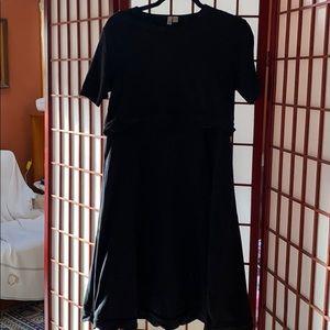 ASOS black scalloped  mini dress with crop top